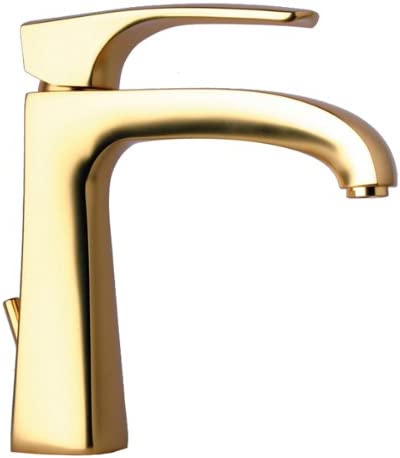 La Toscana 89OK211 Lady Single Handle Lavatory Faucet with Pop-Up Drain, Satin Gold