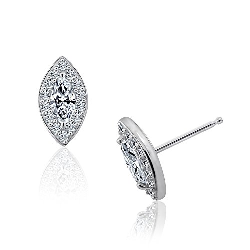 DIAMONBLISS Sterling Silver Clear Cubic Zirconia Marquise Cut Halo Stud Earrings (Stud Cubic Zirconia Marquise)
