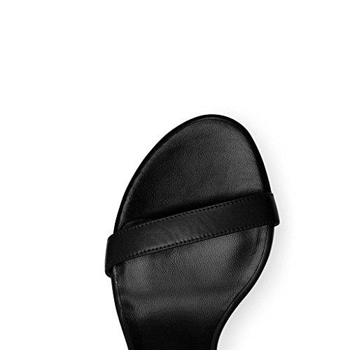 EDEFS Damen Knöchelriemchen Blockabsatz Sandalen Peep Toe Frühjahr Sommer High Heel Schuhe Schwarz