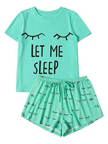 (WDIRA Women's Sleepwear Closed Eyes Print Tee and Shorts Pajama Set Green)