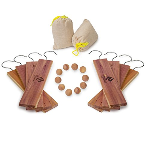American Cedar Large Hang Ups Set - 10 Cedar Hangers & Cedar Balls , 2 Cedar Sachet - 100% Natural Fragrance Best moth protection & moth repellent