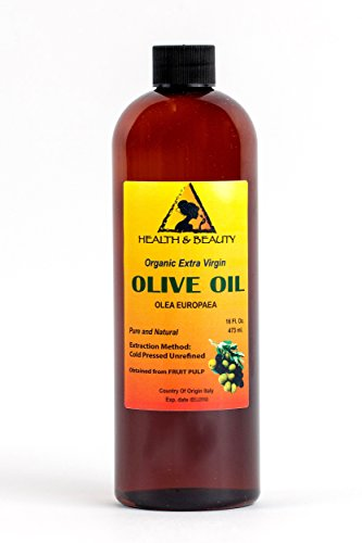 Olive Oil Extra Virgin Organic Unrefined by H&B OILS CENTER Raw Cold Pressed Premium Quality Natural Pure 16 oz