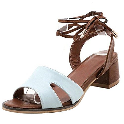 COOLCEPT Mujer Moda Cordones Sandalias Punta Abierta Tacon Ancho Slingback Zapatos Azul