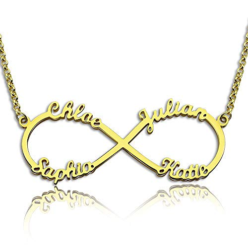 RESVIVI Eternal Infinity Sterling Silver Personalized Four Names Necklace 18K Gold Plating Custom Made Any Names Pendant Necklace