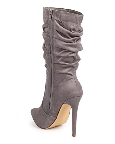 Liliana Single Stiletto Boot Sole Ruched Grey Women Toe Pointy Suede DC16 7wH7Tqrg