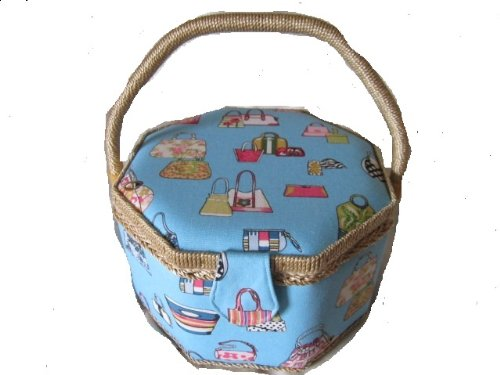 Sewing Box or Work basket Large Octagonal in Blue with Handbags Design Pattern with Satin Lining and removable Tray 24cm X 17cm X 16cm XYSB 13400-AL2623