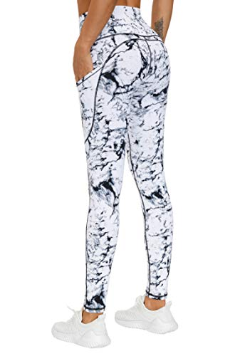 THE GYM PEOPLE Thick High Waist Yoga Pants with Pockets, Tummy Control Workout Running Yoga Leggings for Women (Large, Marble)