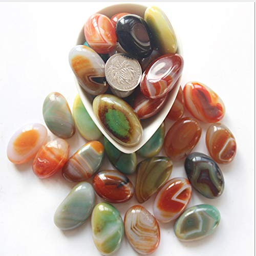 ACEVER Carnelian Banded Agate Mineral Rock specimens Tumbled Polished Pebble Stones (Size-color-ZT03)