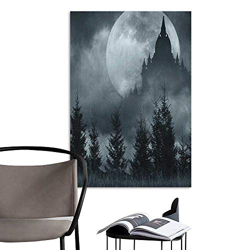 Alexandear Wall Mural Wallpaper Stickers Halloween Magic Castle Silhouette Over Full Moon Night Fantasy Landscape Scary Forest Grey Pale Grey Children's Room Wall W20 x H28 ()
