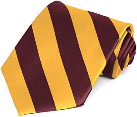 Maroon and Golden Yellow Striped Tie