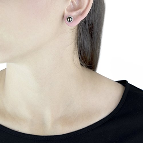 Carissima Gold - Boucles d'oreille - Femme - Or blanc (9 cts) 0.9 Gr - Perle - Diamant