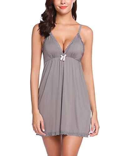 ADOME Women Lingerie Sleepwear Chemises V-Neck Full Slip Babydoll Nightgown Dress Dark Gray M ()