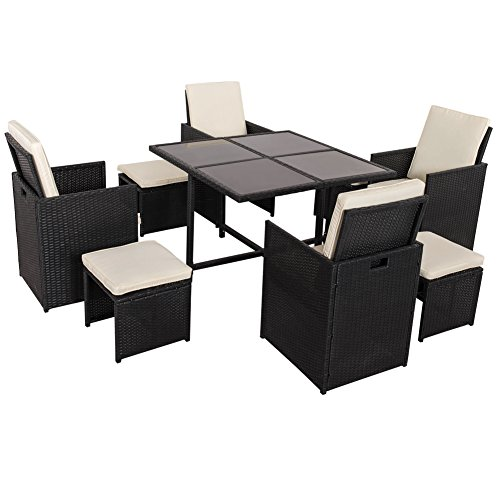 Sundale Outdoor Deluxe 9 Pieces All Weather Wicker Patio Garden Dining Furniture Cube Set with Dust Cover