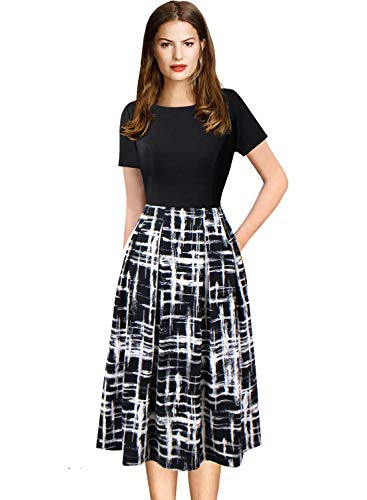 (VFSHOW Womens Vintage Pleated Pockets Colorblock Work Business Office Casual Skater A-Line Dress 2769 BLK S)