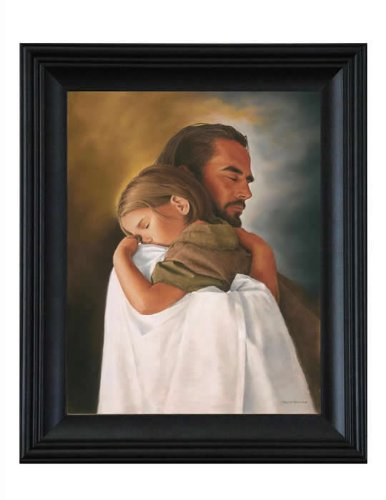 Security 21x25 Black Wood Framed Print by David Bowman Jesus Christ Spiritual Christian Fin Art by