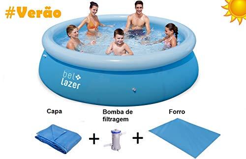 Piscina Bel Life 4600l+ Filtro 220v 1250l/h+capa 3.05 + Lona 3.05 (p55) Bel Fix Azul
