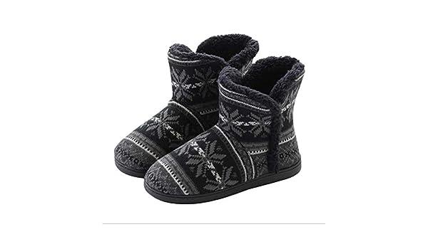 Sumferkyh Pantuflas con Estampado de Copos de Nieve, para Mujer, para Interiores, Botas para el hogar, Botas de Invierno, cálidas, para casa, Botines Negros ...