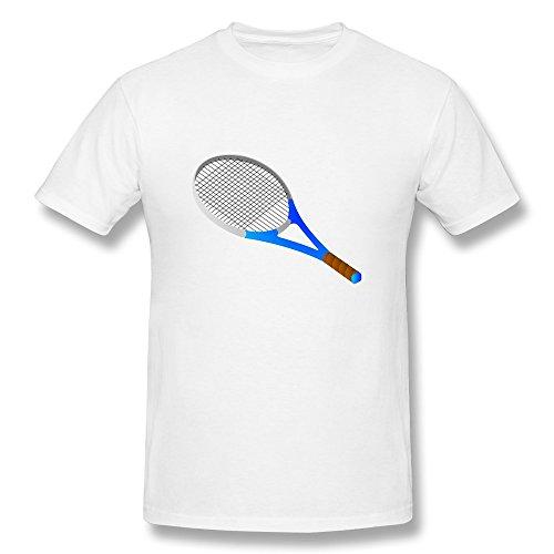 WSB Men's Tshirt Tennis Racket Clipart White 21 - Rocket Clipart