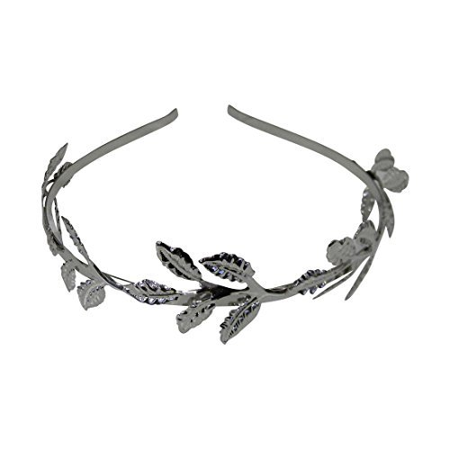 Silver Laurel Leaf Shiny Headband Greek Roman Costume Crown Hairband (Roman Silver Bands)