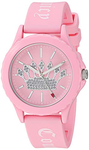 (Juicy Couture Black Label Women's  Glitter Accented Light Pink Silicone Strap Watch)