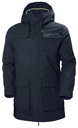 Helly Hansen Men's Captains Waterproof Windproof Hooded Rain Parka Jacket, Navy, Large