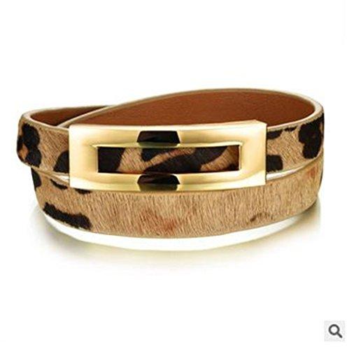 - Leopard Leather Double Wrap Bracelets Belt Buckle Bangles for Women Jewelry