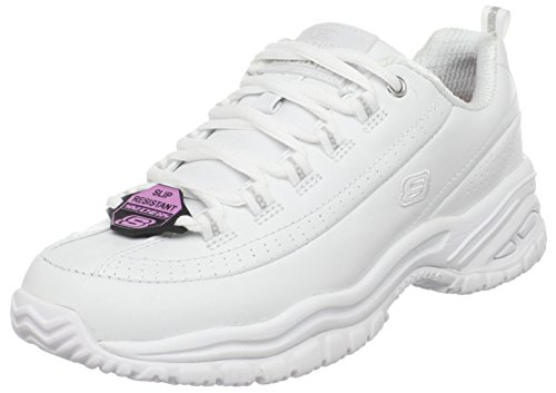 Skechers for Work Women's Soft Stride-Softie Lace-Up, White, 7.5 B - Medium