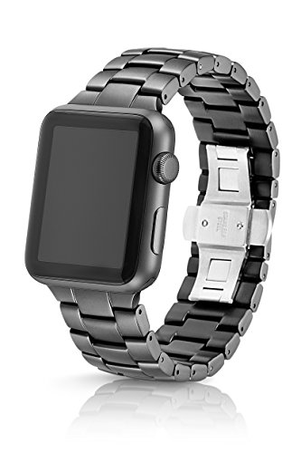 42mm JUUK Cosmic Grey Velo Premium Apple Watch band, made with Swiss quality using aircraft grade, hard anodized 6000 series aluminum with a solid stainless steel deployant buckle (matte grey) by JUUK