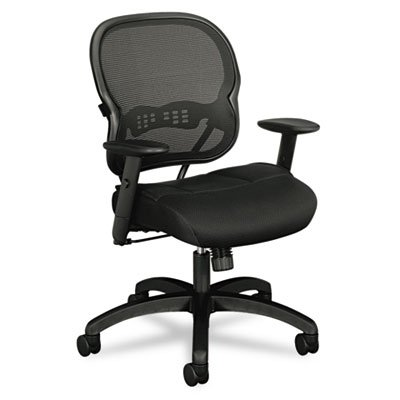 HON Wave Mid-Back Chair - Mesh Office or Computer Chair with Adjustable Arms, Black (VL712) by basyx by HON