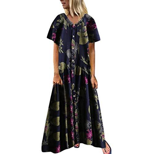 1950s Cotton Print - Women Bohemian Maxi Dress Vintage Floral Print Button Short Sleeve V Neck Dress