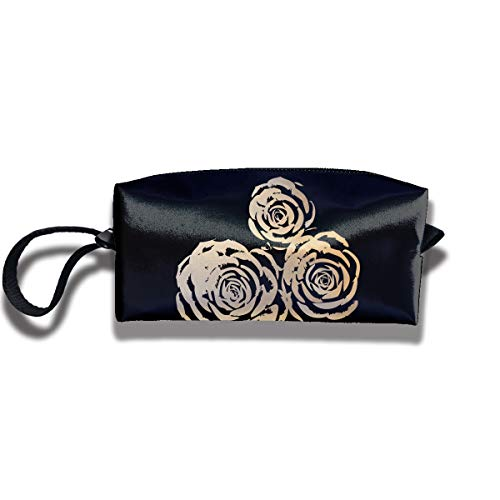 (Cosmetic Bags With Zipper Makeup Bag Rose Bud Middle Wallet Hangbag Wristlet Holder)