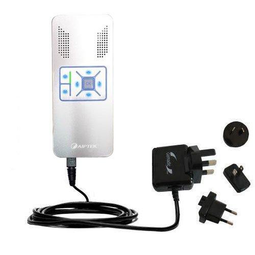 Das 10W Wandsteckdosen-Ladegerät International AC kompatibel mit Aiptek PocketCinema V10 plus Mit TipExchange von Gomadic