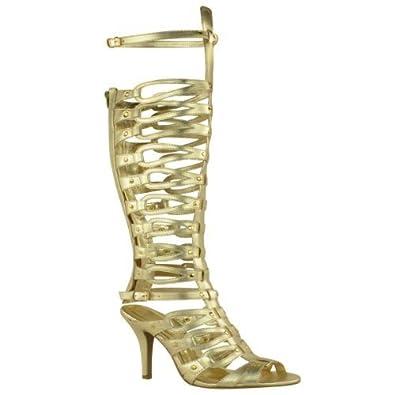 57dac6b7e8f Fashion Thirsty LADIES WOMENS GLADIATOR KNEE HIGH SANDALS STRAPPY STILLETO  PARTY HEEL SIZE