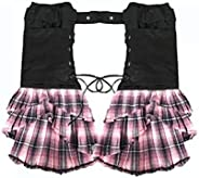 Punk Plaid Skirt Prom Dress Lolita Ribbon Mini Skirt