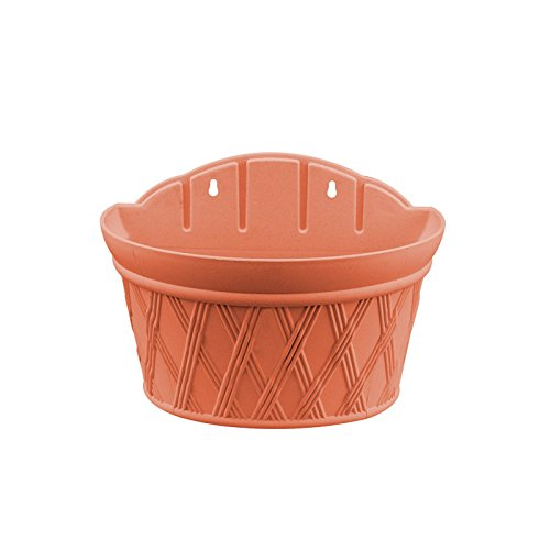 Ecover Plastic Wall Hanging Planter Resin Vertical Garden Plant Pot, 12x6.9x8.6Inch, Brick Red