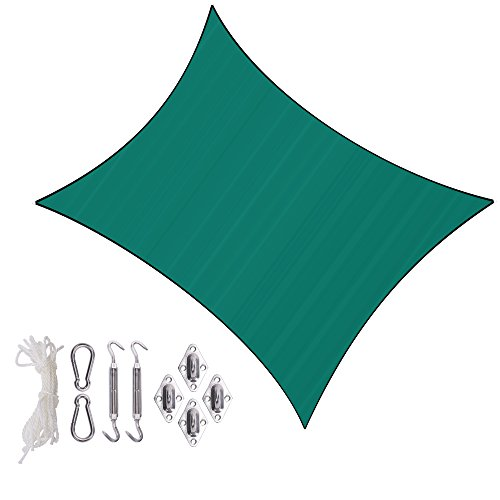 Sunlax 13' x 20' Green Color Rectangle UV Block Sun Shade Sail Canopy with Stainless Steel Hardware Kit for Patio and Outdoor by Sunlax