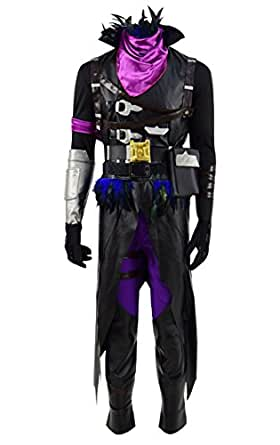 Hot Online Game Fortnight Raven Costume Men Black Crow Costume Halloween (Raven, US Men-S)