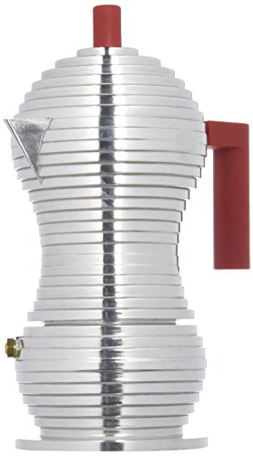 Alessi MDL02/3 R Pulcina Stove Top Espresso 3 Cup Coffee Maker in Aluminum Casting Handle And Knob in Pa, Red