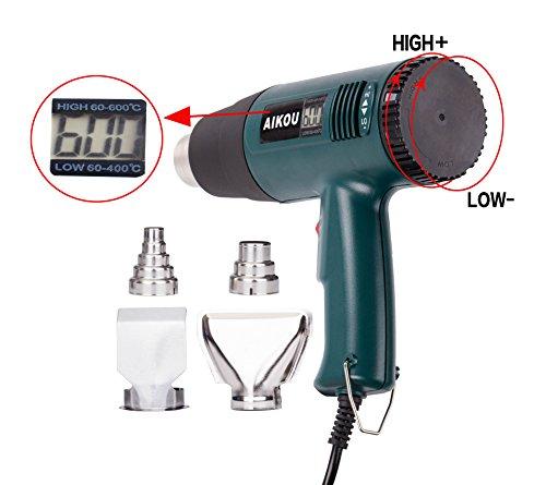 AIKOU 1800W Adjustable Temperature Hot Air Heat Gun with Digital Display Fast Heating Blower Kits (Green) ()
