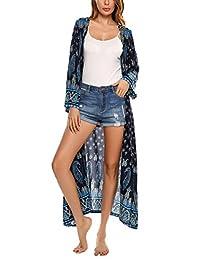 Meaneor Women Vintage Bohemian Floral Beachwear Top Cover-ups Kimono Cardigan