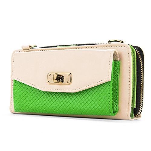 Espresso Clutch Ladies Wallets - Venice Collection Women's Wallet Clutch Carrying Case for Motorola Droid Turbo (Cream & Lime)