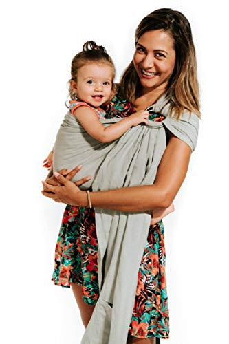 Luxury Ring Sling Baby Carrier - Extra Soft Bamboo & Linen Fabric, Full Support and Comfort for Newborns, Infants & Toddlers - Best Baby Shower Gift - Great for Men Too (Sage Green)