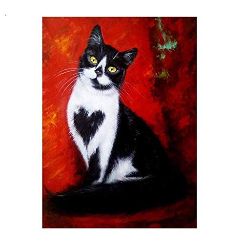 Diamond Painting Kits for Adults,5D DIY Diamond Dotz Kits with Full Drill Great Decor for Home Black Cat 11.8x15.7in 1 Pack by Juntop
