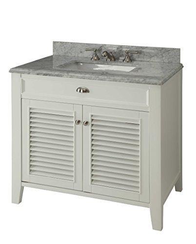 kalani 30inch white bathroom vanity carrara top includes self closing door