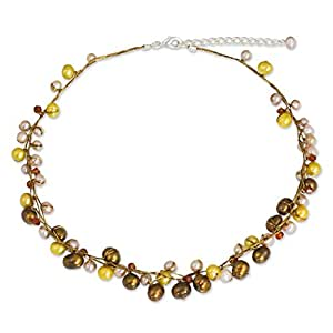 NOVICA Dyed Cultured Freshwater Pearl Strand Necklace with Stainless Steel Extender, 'River of Gold'