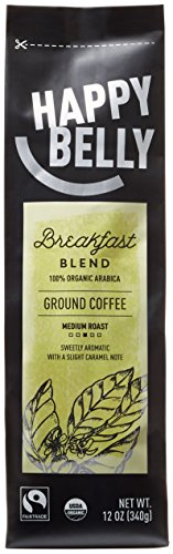 Happy Belly Breakfast Grade Organic Fairtrade Coffee, Medium Roast, Ground, 12 ounce