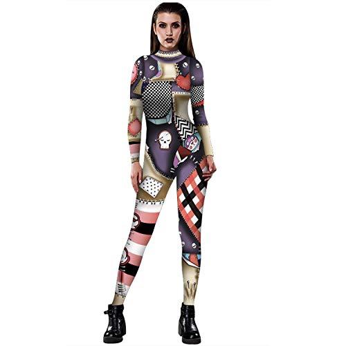 Women 3D Style Halloween Cosplay Costumes Jumpsuit Bodysuit (Small, Broken Heart)