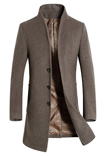 Wool Blend Trench - Lavnis Men's Trench Coat Long Wool Blend Slim Fit Jacket Overcoat Size Thin Style M