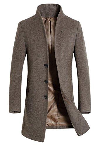 Lavnis Men's Trench Coat Long Wool Blend Slim Fit Jacket Overcoat Size Thin Style Style 2 Khaki L ()