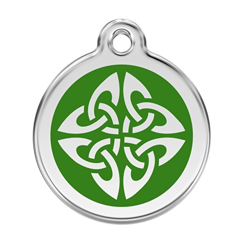 Red Dingo Custom Engraved Stainless Steel and Enamel Dog ID Tag - Celtic Knot (Green, - Celtic Knot Attractive